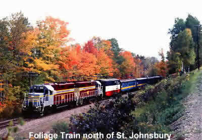 Foliage train in Vermont's Northeast Kingdom